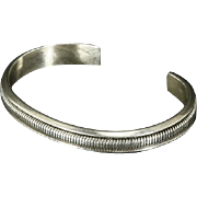 Vintage Native American Sterling Silver Cuff Bracelet – signed Gahe – Navajo