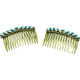 Vintage Sterling and Turquoise Hair Combs – Pair – Native American – Navajo