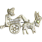 Early Mexico Sterling Silver Donkey and Sleeping Man Pin – pre-Eagle – 1930s/1940s