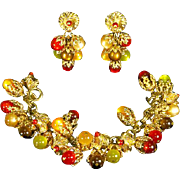 Napier signed Charm Bracelet and Dangle Earrings – Moonglow Lucite – 1948 – 1955 – Autumn Colors