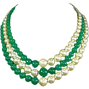 Peking Glass and faux Pearl Triple Strand Mid Century Modern Necklace – 1950s/early 60s