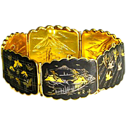 Vintage Japanese Damascene Shakudo Panel Bracelet – Inlaid with 24K Gold and Silver – 1920s/30s
