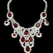 Fabulous Rhinestone Bib Necklace – Large Red Teardrops – Runway