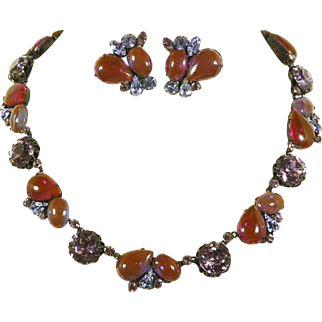 Saphiret and Rhinestone Necklace and Earrings – unsigned Regency – 1950s/60s