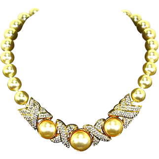 Swarovski SAL XOXO Necklace – faux Pearl and Pave Rhinestones