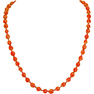 Venetian Red and Aventurine Fluss Sommerso Art Glass Bead Necklace – 1950s/1960s