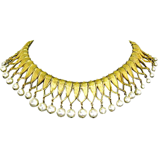 Trifari signed Egyptian Revival Collar Bib Necklace – faux Pearl and Gold Tone – early 1960s