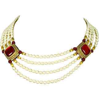 "Vintage ""1928"" Victorian Revival style 4 Strand faux Pearl and Red Cabochon Necklace"