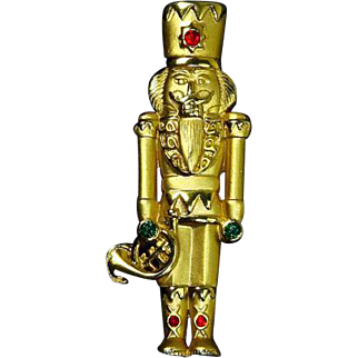 J.J. Nutcracker Toy Soldier – Christmas – Gold Tone and Rhinestones