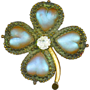 Antique Saphiret Glass Victorian Brooch – Four Leaf Clover – Heart Shaped Stones – Rare