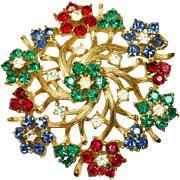 Crown Trifari Fruit Salad Red Blue Green Rhinestone Flower Pin – early 1960s