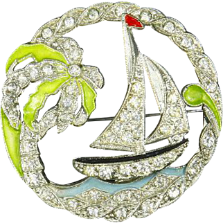Art Deco Tropical Scene Pin – Trembler – Sailboat, Palm Tree – late 1930s/early 1940s