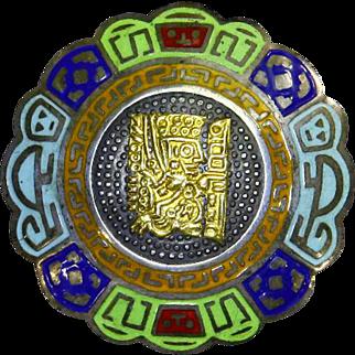 Peru 18 K Gold Sterling Silver Five Color Enamel Pin – 1950s – Inca Warrior/Shaman