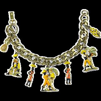Rare Vintage Blackamoor Seven Charm Bracelet – Tropical Theme – Island Life – 1940s/50s