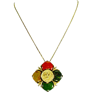 Marbled Bakelite Pendant – Four Color – Scottish Thistle and Crown