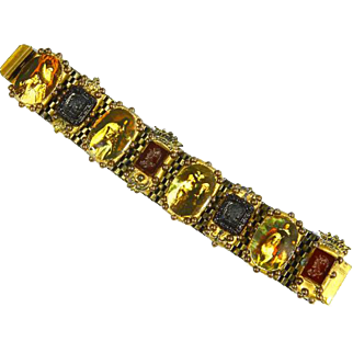 Richard Minadeo Designer Bracelet – English Regency Theme – Photo Miniatures and Cameo Intaglios – mid 1980s