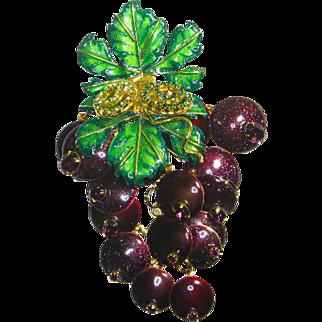 Lunch at The Ritz Pin/Pendant – Original Signed Menu –'Beaujolais'– Grape Vine Cluster – 1993