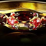 Hinged Cuff Bracelet -- Aurora Borealis Red & Red Rhinestone