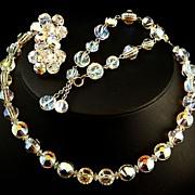 Hobe Aurora Borealis Swarovski 'Nailhead /Aspirin' Crystal Full Parure -- Rare Beads -- 60s