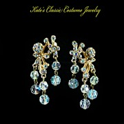 Aurora Borealis Crystal and Rhinestone Floral Dangle Earrings -- 60s