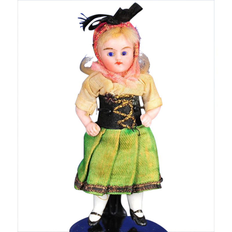 Antique All-Bisque German Doll With Glass Eyes in Factory Original Outfit