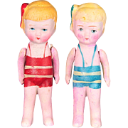 "Pair of 1930s Bisque Dolls Made in Japan, Wearing Bathing Suits and Bows. 4.5"" tall"