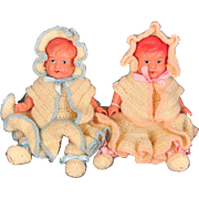 "Occupied Japan 1940s Celluloid Baby Doll Boy and Girl Twins, Asakusa, 6"" Tall"