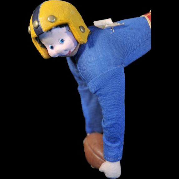 Klumpe Football Player Doll, Original Tag, C. 1940s