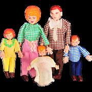 Marx Twistoys Dollhouse Doll Family, Five Dolls, 1970s, Mint in Original Box
