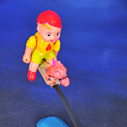 Celluloid Boy Doll Riding Horse on Metal Bouncer Toy, Made in Japan c. 1930s-1940s