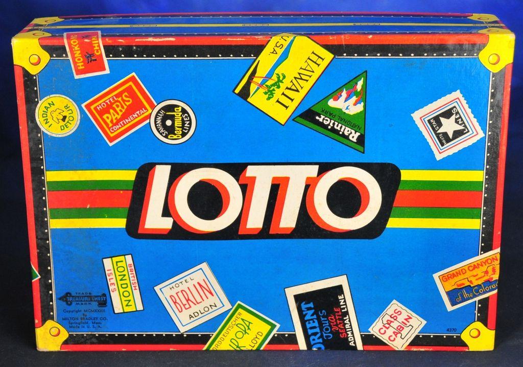 Milton Bradley Lotto Game Train Luggage Cover, Complete 1932