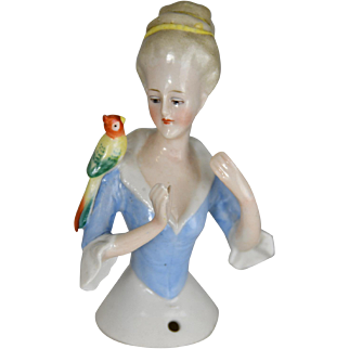 "German Half Doll Lady With Parrot On Her Shoulder, Porcelain c.1915 4.5"" Tall"
