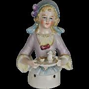 "German Half Doll Chocolate Lady, Porcelain c.1910 4.5"" Tall"