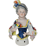 """Fancy Large Half Doll with Plumed Headband Holding Dresden Flowers 5.5"""" c. 1915"""