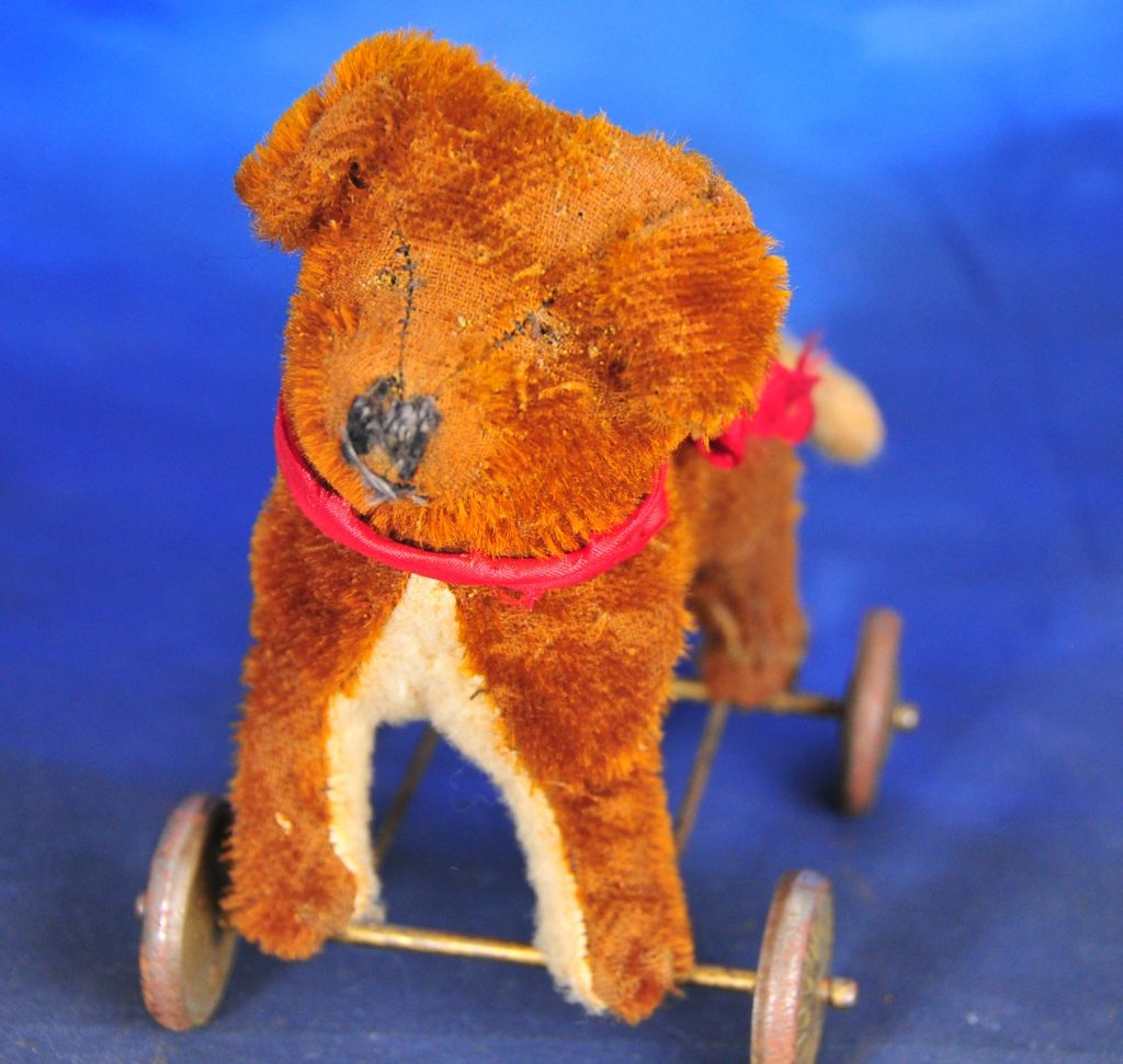 Mohair Dog on Metal Wheels Toy Sized For Doll, Hard-Stuffed, c. 1920s