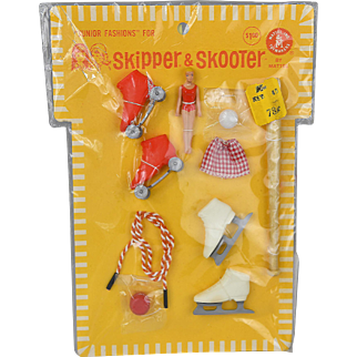 Just For Fun Skipper and Skooter Mint, MOC c. 1965-67 Pak includes Hard To Find Mini Barbie, Other Accessories