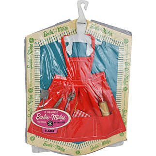 Vintage Barbie Apron and Utensils MOC NRFB c. 1962