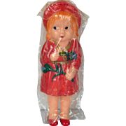 Vintage Celluloid Immobile Doll Rattle, Hong Kong, Mid 20th C. Cello Package, Molded Clothing