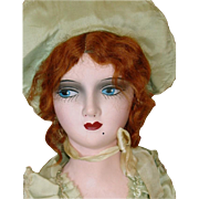 """Vintage 28"""" Composition Red Head Boudoir Bed Doll ~ All Orig. W/ Gold Heels"""