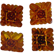 4 Vintage Large BAKELITE BUTTONS  Amber Squares With Carved Flowers