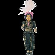 "Vintage Ethnic Carved Wood 10"" Doll ~ Dressed in Original Costume TURKEY"