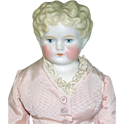 """Antique German 16"""" Blonde Curly Top CHINA HEAD Doll"""