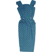 Vintage 1962-62 Barbie Fashion ~ BLUE SHEATH W Gold Buttons