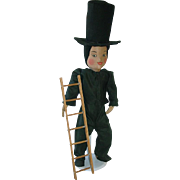 "Unusual 17"" Ethnic Cloth Stockinette Chimney Sweep Doll 1940s German, Swiss"