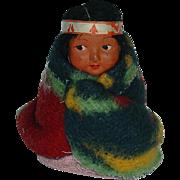 "Vintage HTF Sitting Skookum Indian Doll 3 1/2"""