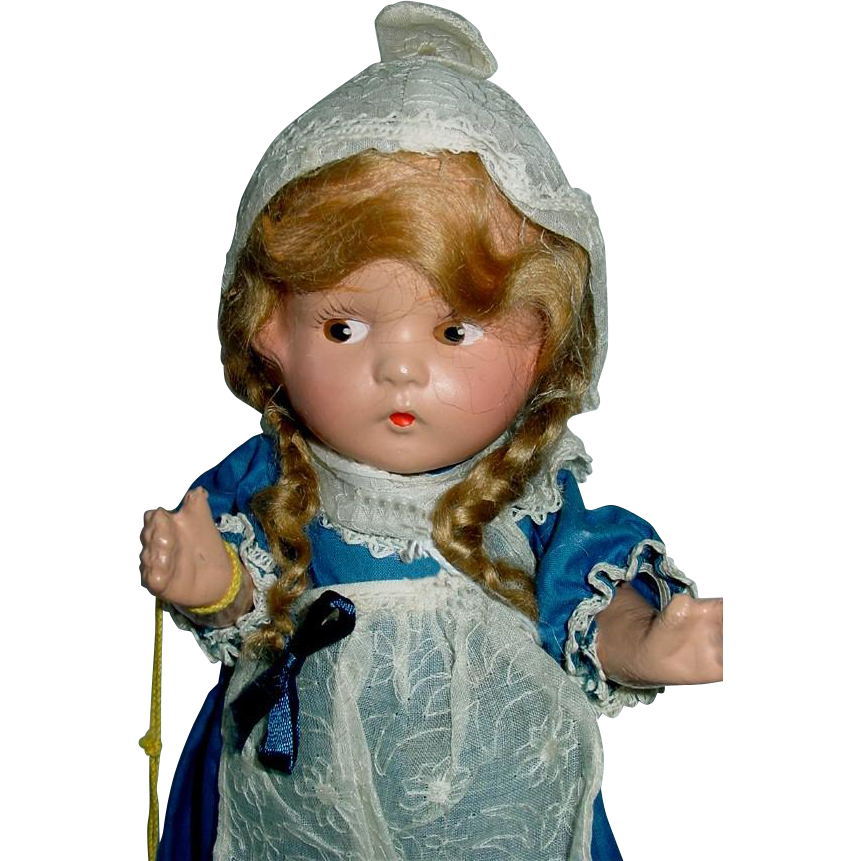 "Vintage Large 1939 Worlds Fair 13"" Composition International Dutch Girl Doll KATRINKA"