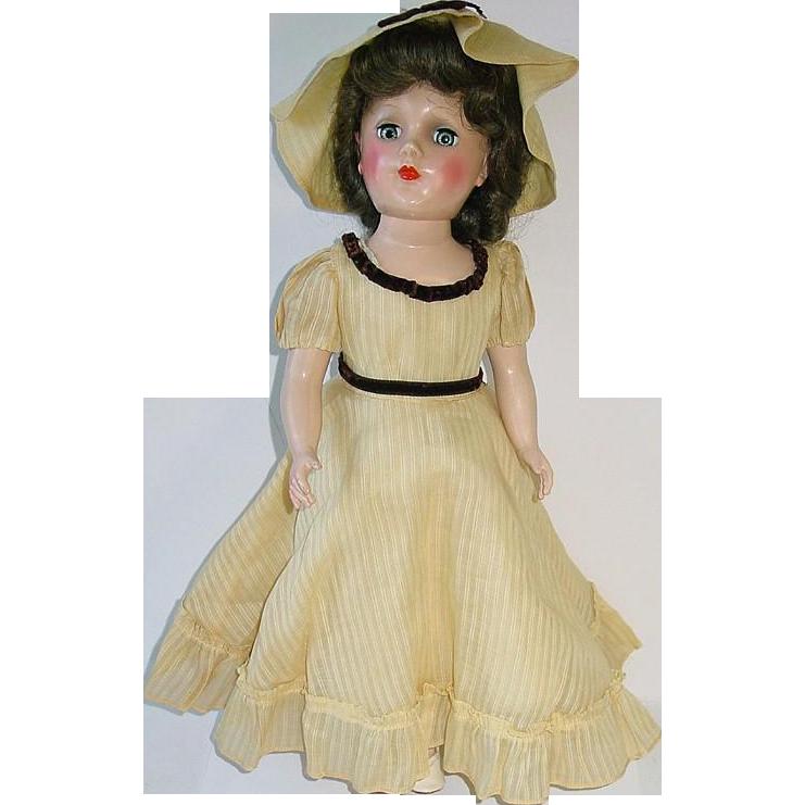 """Vintage Hard Plastic 14"""" Brunette Mary Hoyer Doll ~ High Color"""