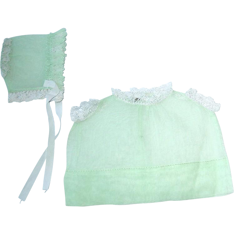 "Vintage Organdy Green Dress and Bonnet to fit 8"" Baby Doll"