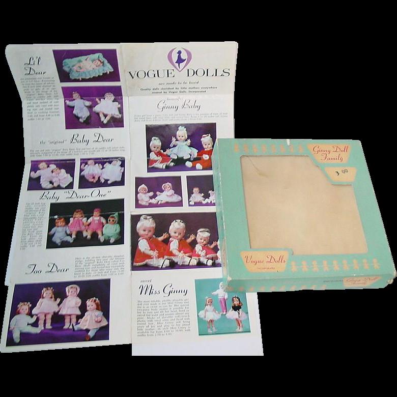 Vintage Vogue BABY DEAR Fashion Box and Vogue Brochure ~ Too Dear, Baby Dear Lil Dear
