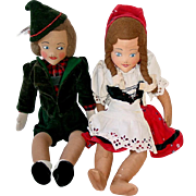 "Pair of 17"" Ethnic Hansel and Gretel, Boy and Girl, Bavaria, Germany or Swiss"